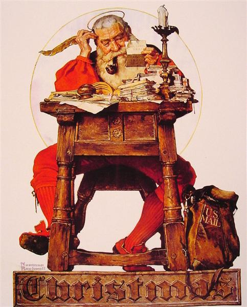 Christmas Santa Reading Mail, 1935 - Norman Rockwell
