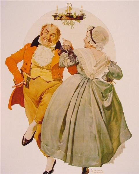 Merrie Christmas Couple Dancing Under the Mistletoe - Rockwell Norman