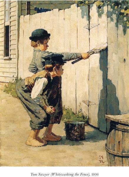 Tom Sawyer (Whitewashing the Fence), 1936 - Norman Rockwell