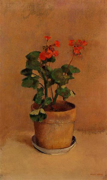 A Pot of Geraniums - Odilon Redon