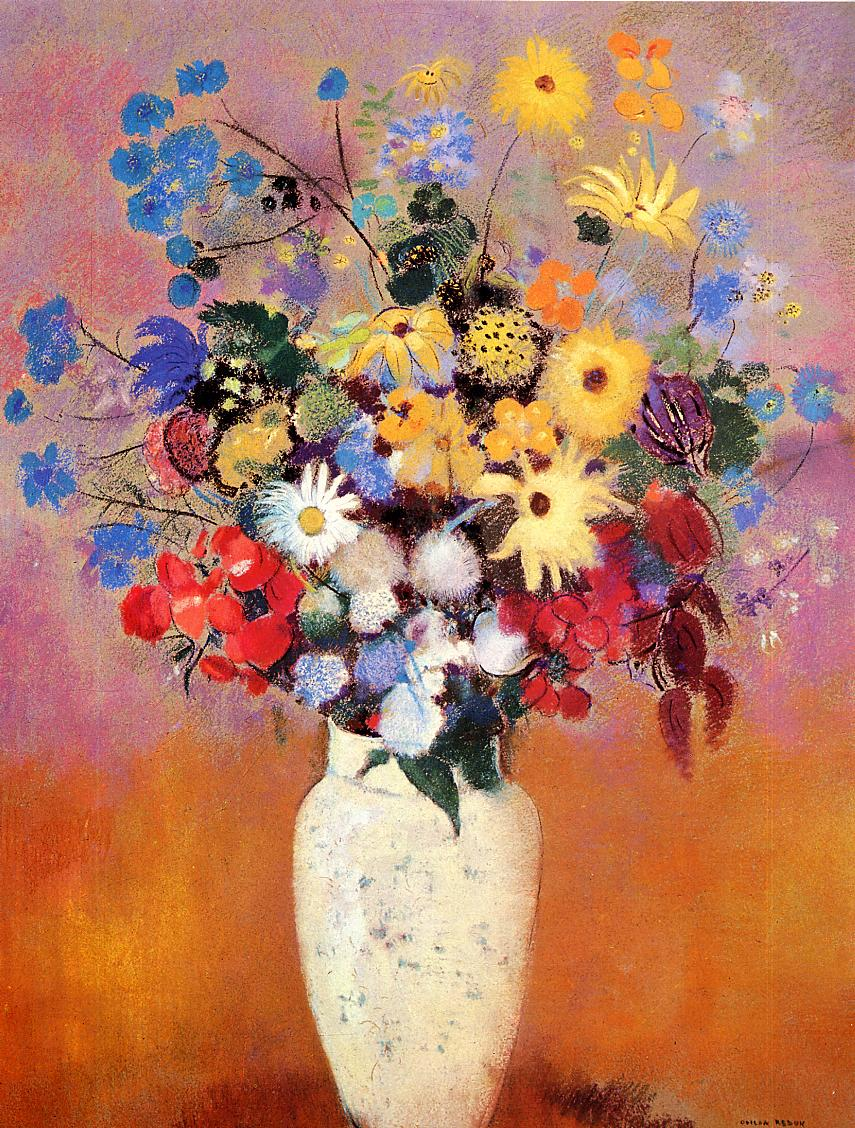 White Vase With Flowers Odilon Redon