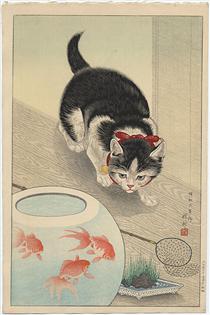 Cat and Bowl of Goldfish - Ohara Koson