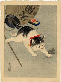 Cat Catching a Mouse - Ohara Koson