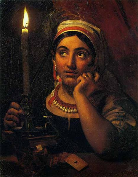 Fortune-teller with a candle, 1830 - Orest Kiprensky
