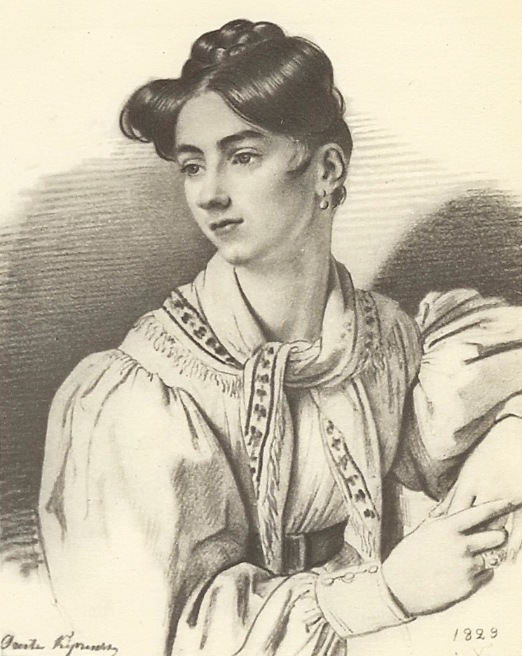 Portrait of an unknown woman with a kerchief on her neck