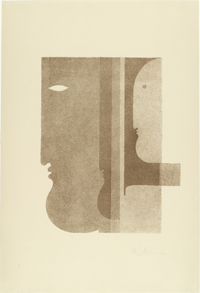 Two Profiles to the Left, One to the Right (Zwei Profile nach links, eines nach rechts), 1920 - Oskar Schlemmer