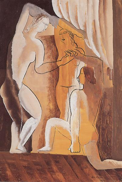 Three women in an interior, 1927 - Ossip Zadkine