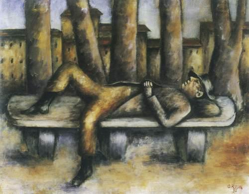 Uomo sulla panchina - Ottone Rosai