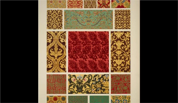 Elizabethan Ornament no. 3. Painted ornaments and ornaments on woolen fabrics from the time of Henry VIII to that of Charles II - Owen Jones