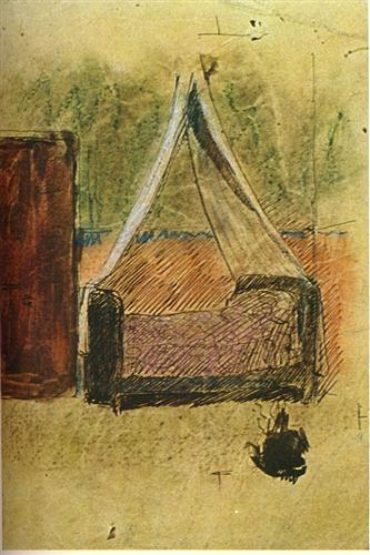 Bed with mosquito nets - Pablo Picasso