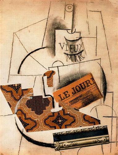 Bottle of Vieux Marc, Glass and Newspaper - Pablo Picasso