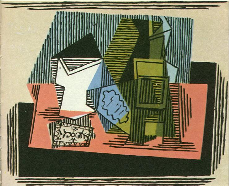 Glass, bottle, packet of tobacco, 1922 - Pablo Picasso