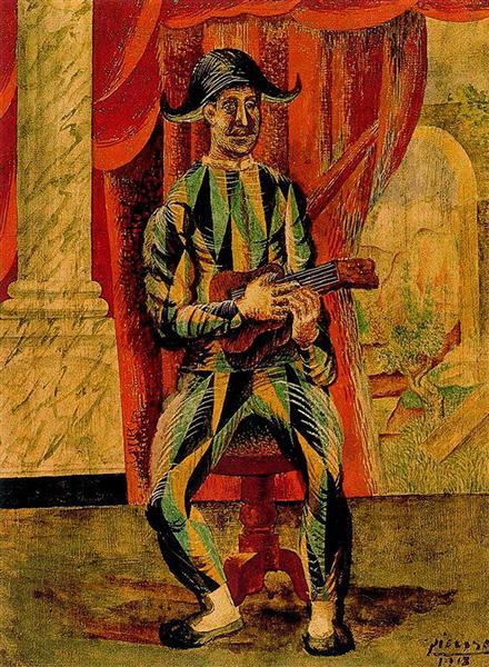 Harlequin with guitar, 1918 - Pablo Picasso