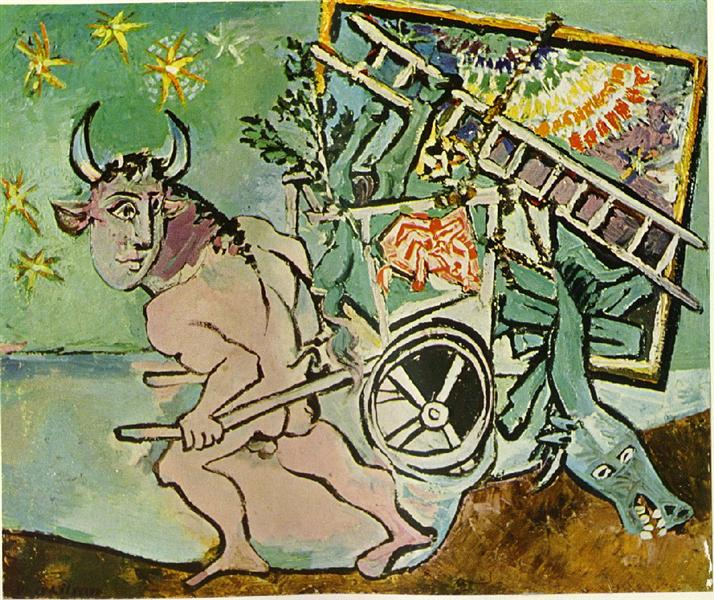 Minotaur transports a mare and foal, c.1936 - Pablo Picasso