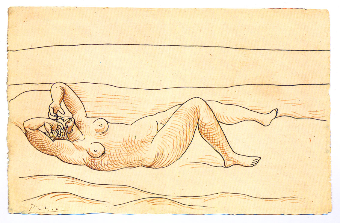 Reclining woman at the seashore, 1920