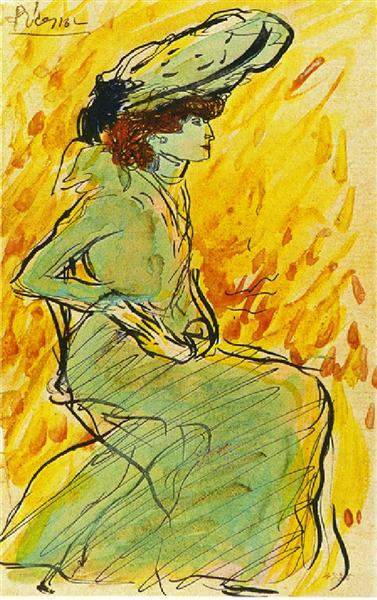 Seated woman in green, 1901 - Pablo Picasso