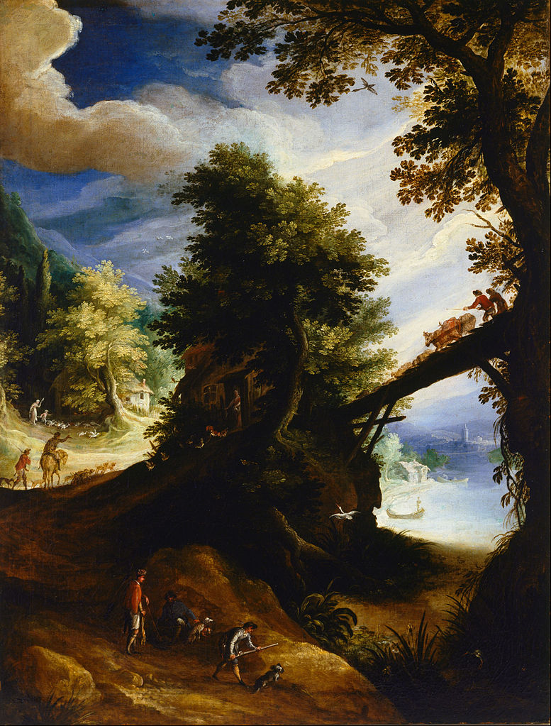 A wooded landscape with a bridge and sportsmen at the edge of the river, 1590