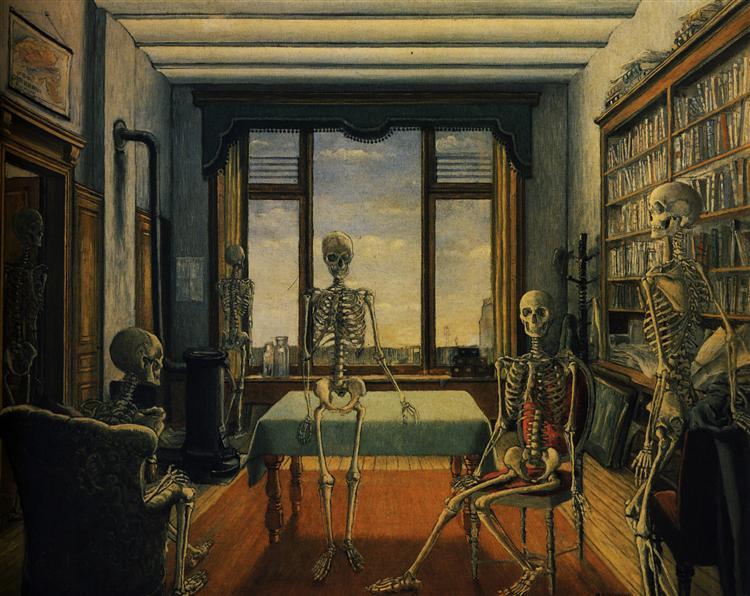 Skeletons in an office, 1944 - Paul Delvaux
