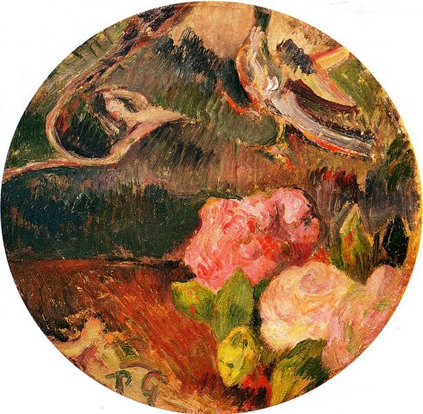 Flowers and a bird, c.1885 - Paul Gauguin