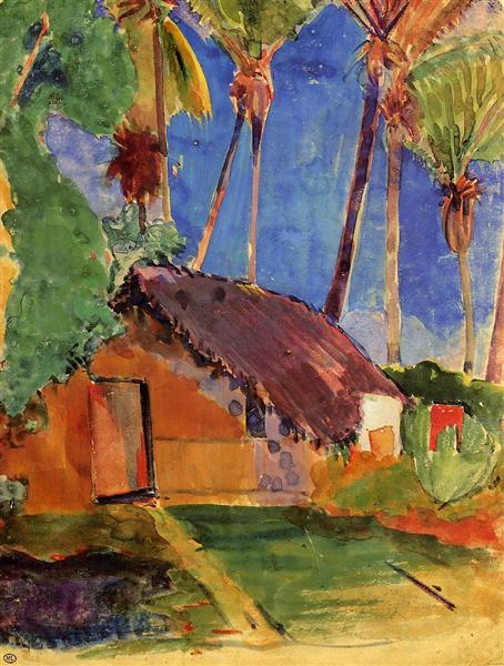 Hut under the coconut palms, 1894 - Paul Gauguin