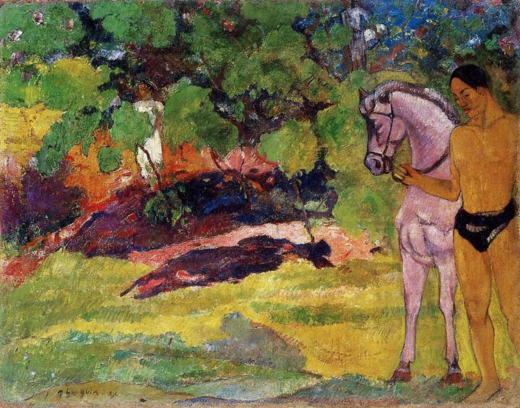 In the Vanilla Grove, Man and Horse (The Rendezvous), 1891 - Paul Gauguin