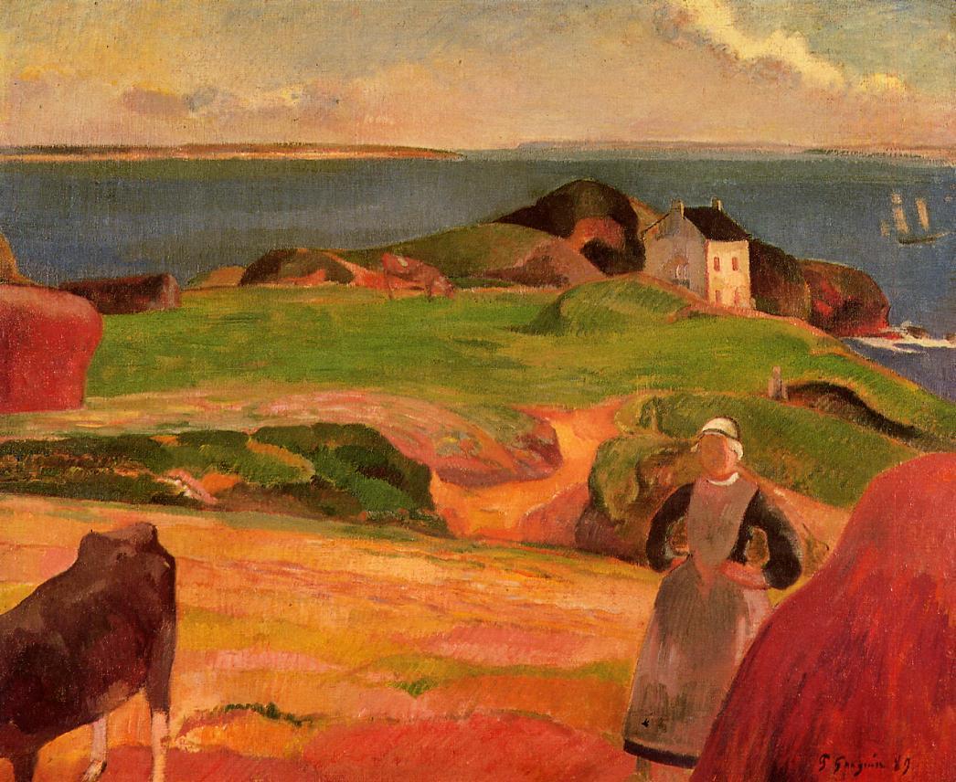 Gauguin Landscape-at-le-pouldu-the-isolated-house-1889