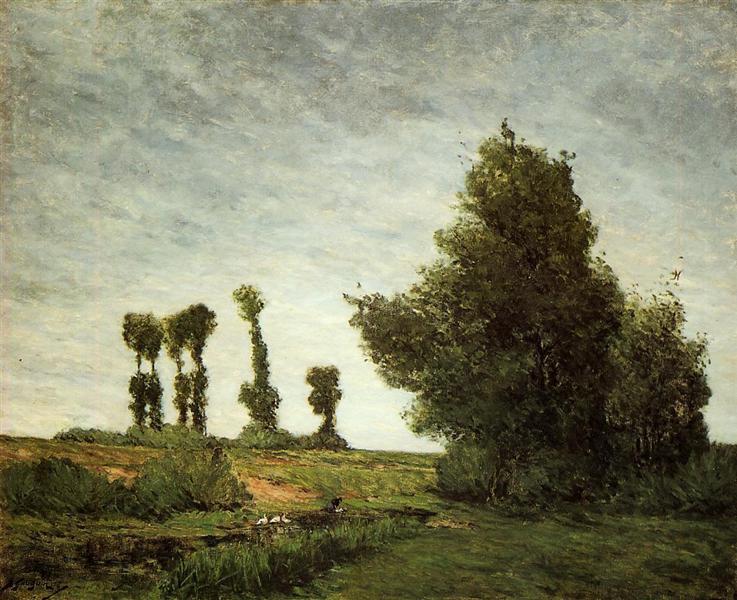 Landscape with Poplars - Gauguin Paul