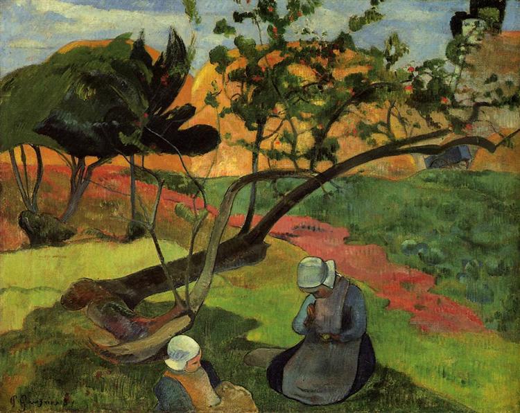 Landscape with two breton women, 1889 - Paul Gauguin