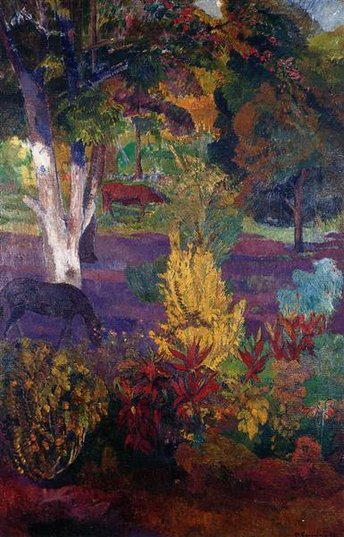 Marquesan landscape with horses, 1901 - Paul Gauguin