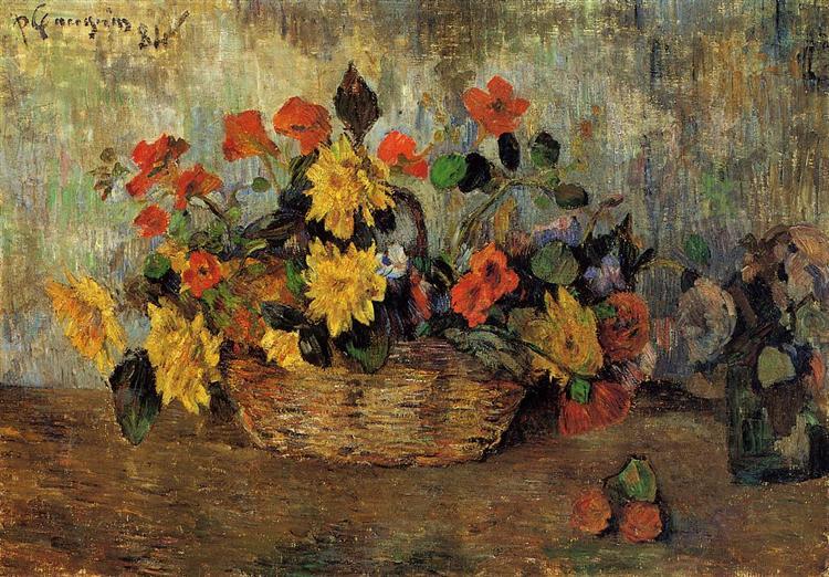 Nasturtiums & dahlias in a basket, 1884 - Paul Gauguin