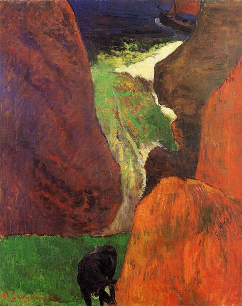 Seascape with cow on the edge of a cliff, 1888 - Paul Gauguin