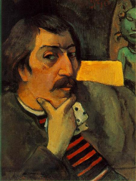 Self Portrait with the Idol, c.1893 - Paul Gauguin