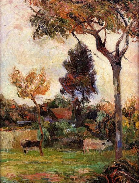 Two cows in the meadow, 1884 - Paul Gauguin