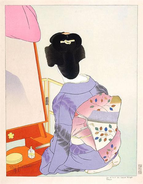 Le Mirror De Laque Rouge. Tokyo, 1938 - Paul Jacoulet
