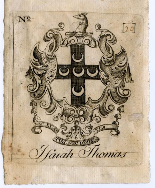 Isaiah Thomas Bookplate, 1798 - Paul Revere