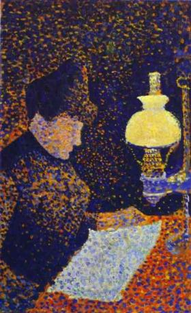 Woman by a lamp - Paul Signac