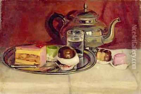 Still Life with Cakes and a Silver Teapot - Pericles Pantazis