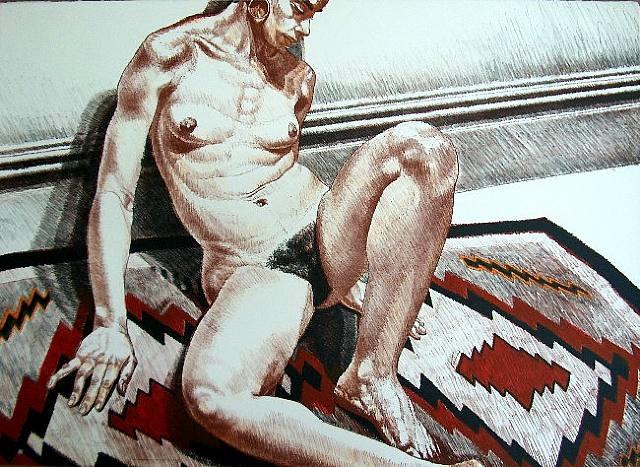 Nude on Navajo Rug, 1972 - Філіп Перлстайн