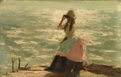 Girl Seated on a Pier - Philip Wilson Steer