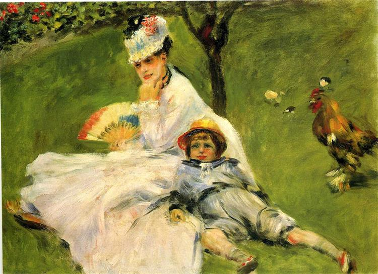 Camille Monet and Her Son Jean in the Garden at Argenteuil, 1874 - Pierre-Auguste Renoir