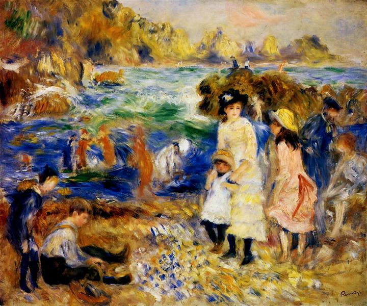 Children by the Sea in Guernsey, 1883 - Pierre-Auguste Renoir