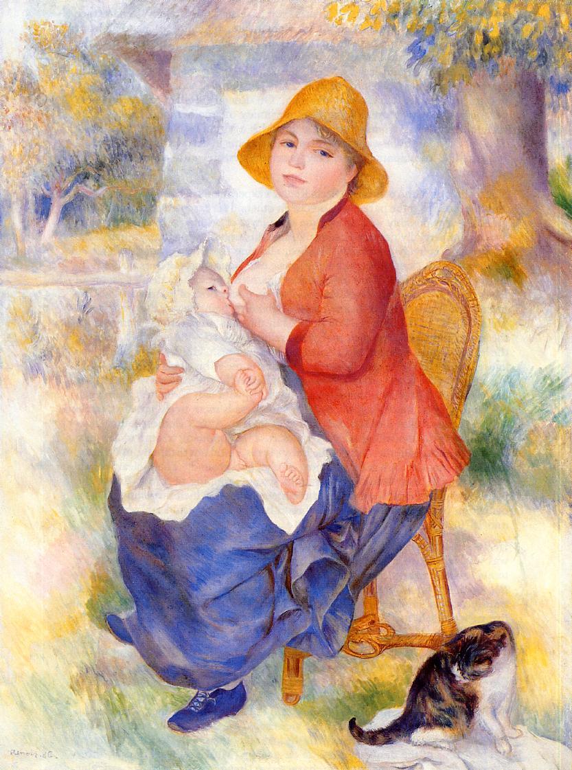 Motherhood (Woman Breast Feeding Her Child) - Pierre-Auguste ...
