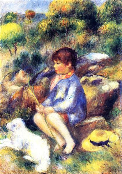 Young Boy By The River 1890 Pierre Auguste Renoir