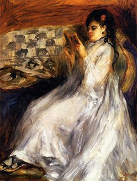 Young Woman in White Reading - Pierre-Auguste Renoir