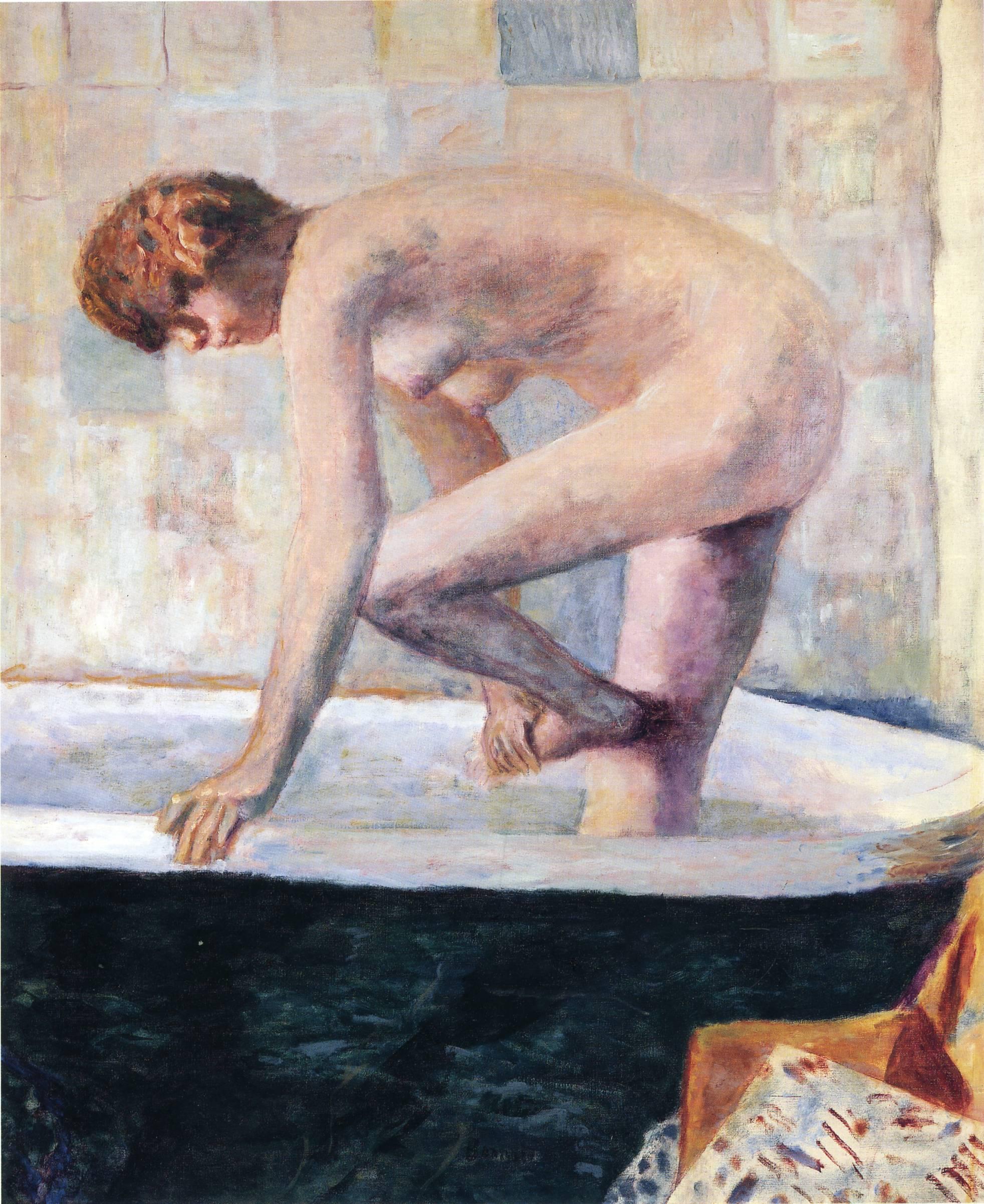 Nude Washing Feet in a Bathtub