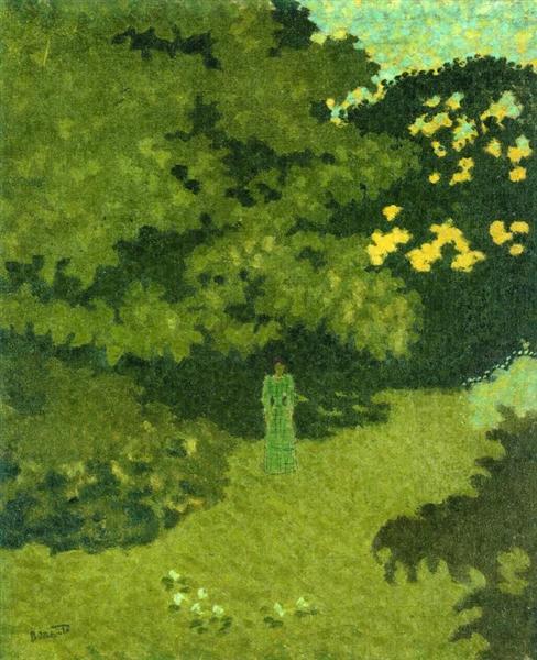 Woman in a Green Dress in a Garden, c.1892 - Pierre Bonnard