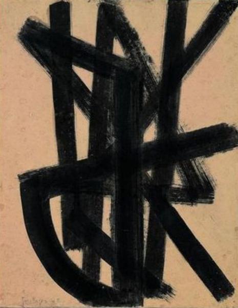 Brou de noix 65 x 50 cm, 1948, 1948 - Pierre Soulages