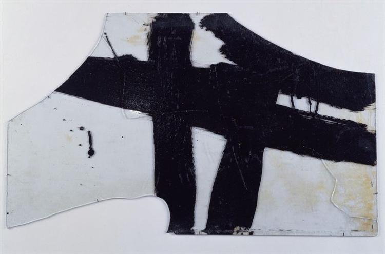 Goudron sur verre 45.5 x 76.5 cm, 1948, 1948 - Pierre Soulages