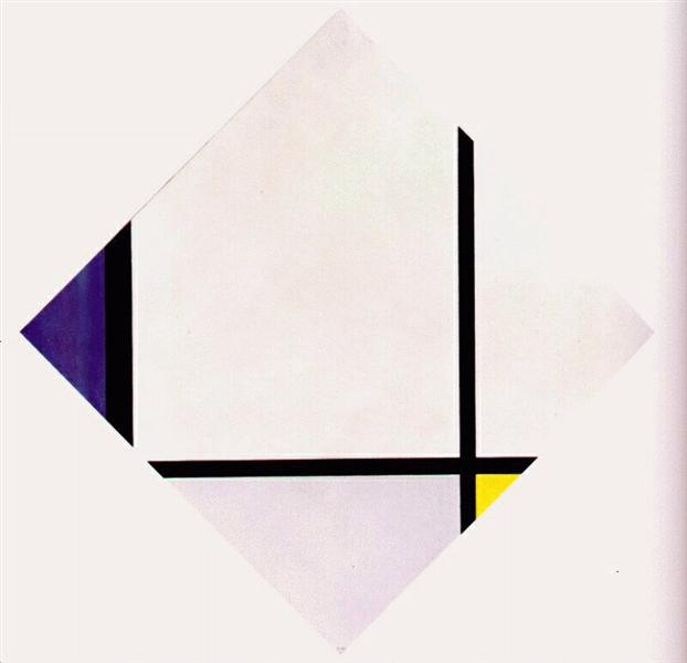 Lozenge Composition 3 Lines Blue Gray Yellow - Piet Mondrian