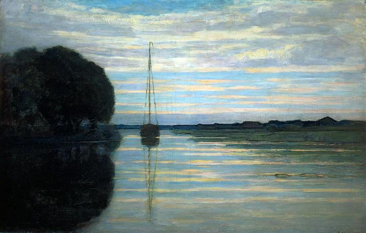 River view with a boat Sun, 1907 - Piet Mondrian